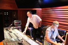 Producer Sean Harrison at Village Studios working on CRIMSON with engineer Jim Hill.