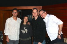 CRIMSON composers Steve Horner and Mark Petrie with vocalist Sherri Chung and producer Sean Harrison.